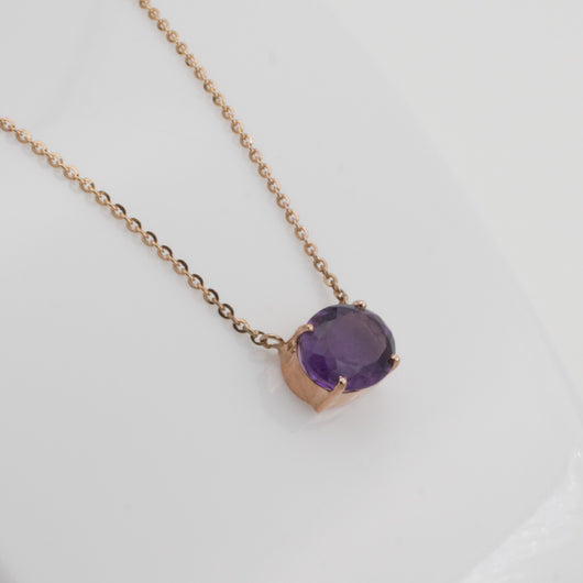 Amethyst oval gemstone pendant rose gold 18k tiny dreams amethyst oval gemstone pendant rose gold 18k mozeypictures Gallery