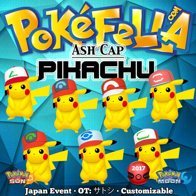 Ash Pikachu • Original, Hoenn, Sinnoh, Unova, Kalos, Alola Cap/Hat • OT: サトシ • Pokemon I Choose You - Tie In-Distribution Japan 2017 Event