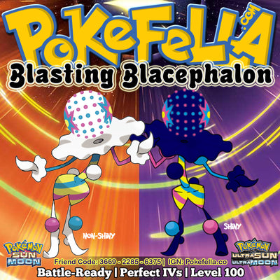 Blacephalon, Ultra Beast UB Burst Shiny 6IVs Outstanding Potential Battle Ready Competitive Pokemon Ultra Moon Ultra Sun Alola Beast Boost Beast Ball Nintendo 2DS 3DS XL screenshot Shadow Ball Flamethrower Hidden Power Explosion