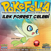 Ilex Forest Celebi • OT: Ilex • ID No. 101500 • Pokemon Gold & Silver Virtual Console North American 2017 Event New Nintendo 3DS 2DS XL Pokemon Sun Moon Ultra Sun Ultra Moon Natural Cure Heal Bell, Ancient Power, Future Sight, Safeguard