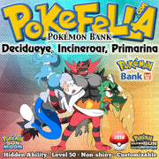 Hidden Ability Pokémon Bank Decidueye, Incineroar, Primarina • 2018 Event