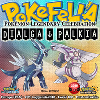 Dialga & Palkia • OT: Leggende2018 • ID No. 020218 • Level 100 • Pokémon Ultra Sun & Ultra Moon Pokémon Legendary Celebration Distribution 2018