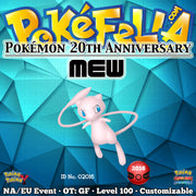 Pokémon 20th Anniversary Mew • OT: GF • ID No. 02016 • North America, Europe 2016 Event