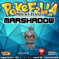 "Mount Tensei Marshadow • OT: テンセイざん • ID No. 170715 • Pokémon Movie 20 ""I Choose You!"" Japan 2017 Event New Nintendo 3DS 2DS XL Technician Spectral Thief Force Palm Close Combat Shadow Ball Marshadium Z"