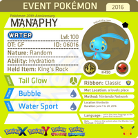 Pokémon 20th Anniversary Manaphy • OT: GF • ID No. 06016 •  2016 Event