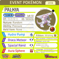Alamos Palkia • OT: 아라모스 • ID No. 180606 • Pokémon - Rise of Darkrai Tie-In • South Korea 2018 Event