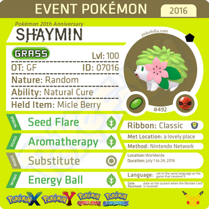 Pokémon 20th Anniversary Shaymin • OT: GF • ID No. 07016 •  2016 Event