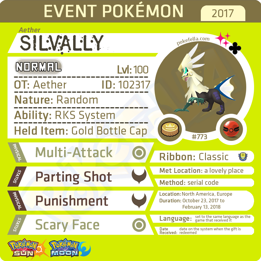 Aether Silvally • OT: Aether, Æther • ID No. 102317 • North America, Europe 2017 Event