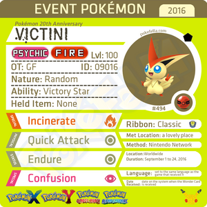 Pokémon 20th Anniversary Victini • OT: GF • ID No. 09016 •  2016 Event