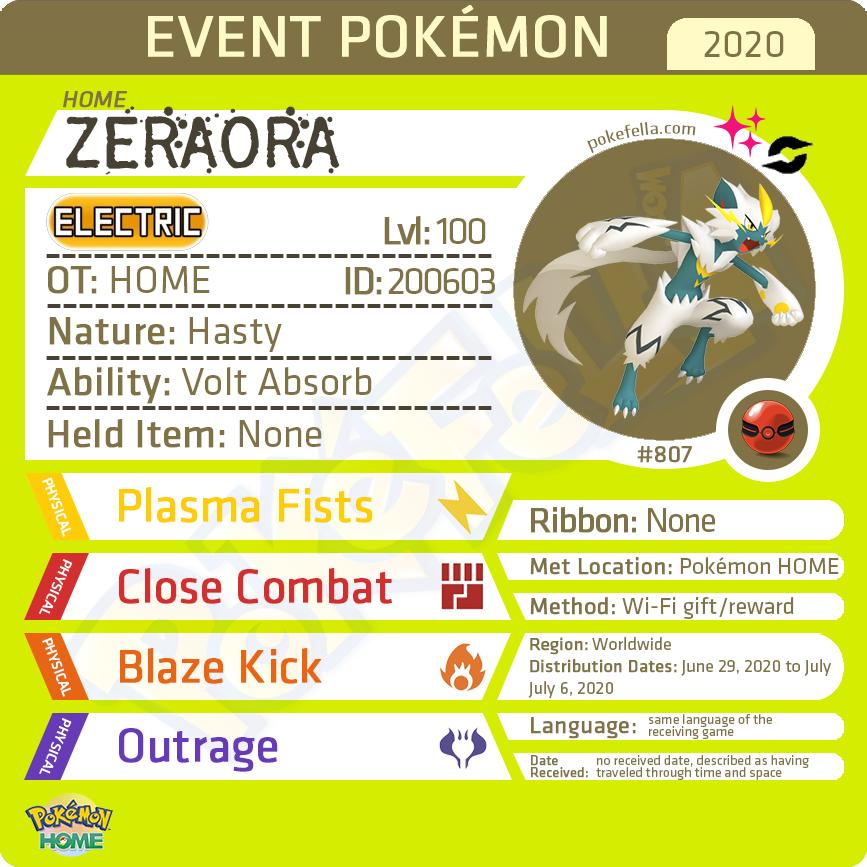 1 Million Victories Shiny Zeraora • OT: HOME • ID No. 200603 • Worldwide 2020 Event
