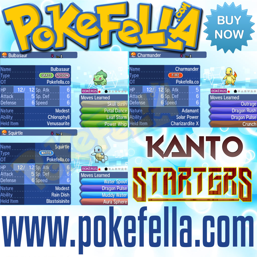 Kanto starters bulbasaur charmander squirtle shiny hidden ability egg moves new nintendo 3ds 2ds XL pokemon ultra sun moon x y alpha sapphire omega ruby