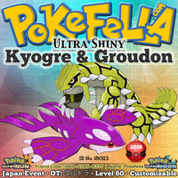 Ultra Shiny Kyogre Groudon Japan Event 2018 OT ウルトラ ID  180113 Ultra Sun Ultra Moon New Nintendo 3DS 2DS XL Drizzle Ice Beam Origin Pulse Calm Mind Muddy Water  Drought Earthquake, Precipice Blades, Bulk Up, Solar Beam