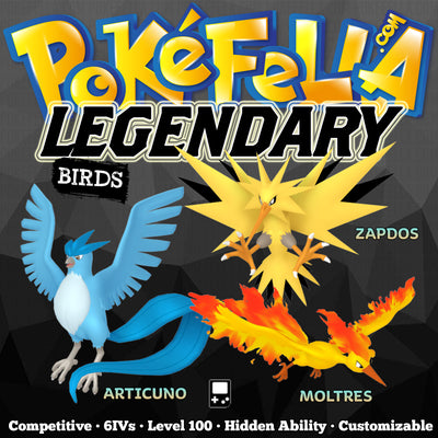 ultra square shiny Legendary Birds • Articuno, Zapdos, Moltres •  Competitive • 6IVs • Level 100 • Hidden Ability • Game Boy Icon