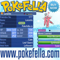 Totem Lurantis Leaf Guard Leftovers Defog Synthesis Toxic Battle-ready Competitive Perfect 6IVs Non-shiny buy for sale