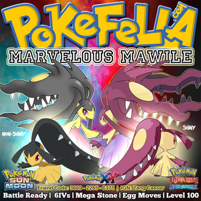 shiny non-shiny battle-ready competitive 6IV ev-trained mega Mawile Pokémon Sun Moon Omega Ruby Alpha Sapphire ORAS X Y New Nintendo 3DS 2DS