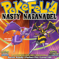 Naganadel, Ultra Beast UB Stinger Shiny 6IVs Outstanding Potential Battle Ready Competitive Pokemon Ultra Moon Ultra Sun Alola Beast Boost Beast Ball Nintendo 2DS 3DS XL screenshot Draco Meteor Sludge Wave Nasty Plot Fire Blast Assault Vest