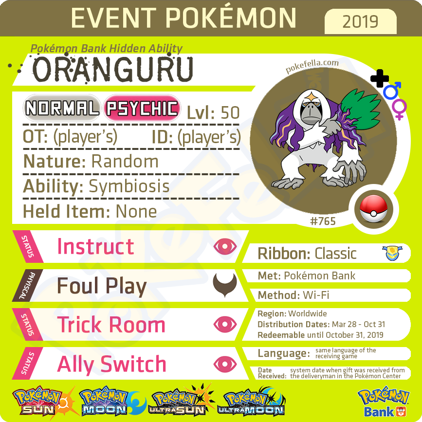Pokémon Bank Hidden Ability Oranguru • Worldwide 2019 Event