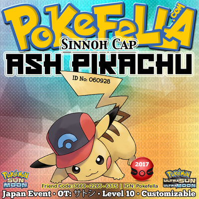 Ash Pikachu • Sinnoh Cap/Hat • OT: サトシ • ID No. 060928 • Pokemon I Choose You - Tie In-Distribution Japan 2017 Event