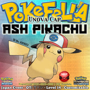Ash Pikachu • Unova Cap/Hat • OT: サトシ • ID No. 100923 • Pokemon I Choose You - Tie In-Distribution Japan 2017 Event