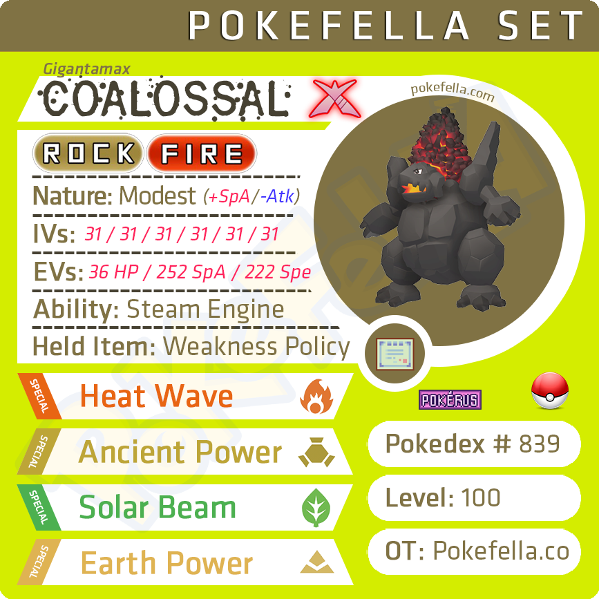 ultra square shiny Gigantamax Coalossal • Competitive • 6IVs • Level 100 • Online Battle-ready
