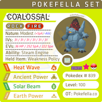 ultra square shiny Coalossal • Competitive • 6IVs • Level 100 • Online Battle-ready