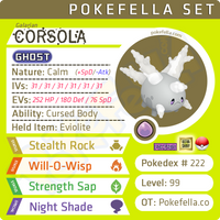 ultra square shiny Galarian Corsola • Competitive • 6IVs • Level 99 • Online Battle-ready