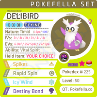 Any item delivery by Delibird Pokemon Sword Shield, Let's Go Pikachu! Eevee!Ultra Sun & Ultra Moon, Sun & Moon, Omega Ruby & Alpha Sapphire, X Y, Switch, 2DS 3DS XL, 6IV, battle-ready, shiny, Spikes, Rapid Spin, Icy Wind, Destiny Bond, Vital Spirit