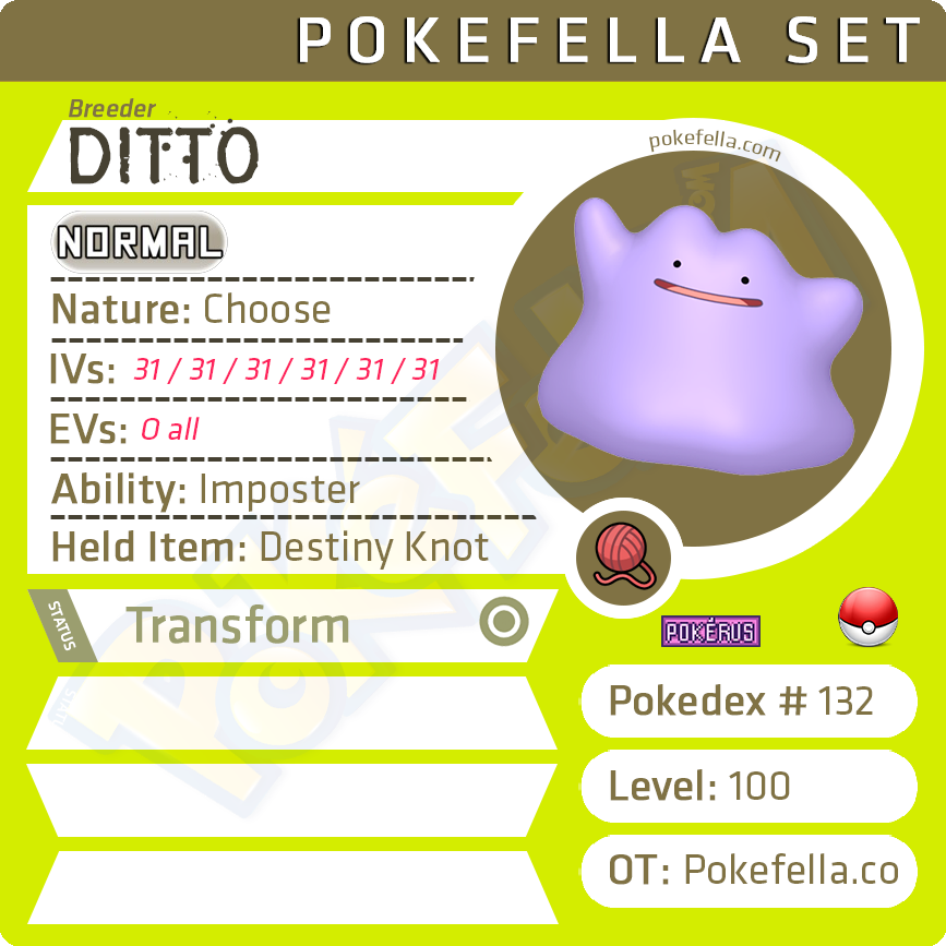 Ditto for Breeding • 6IVs, Shiny, Level 100, Any Nature Ability Foreign Language
