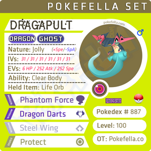 ultra square shiny Dragapult • Competitive • 6IVs • Level 100 • Online Battle-ready