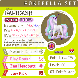 ultra square shiny Galarian Rapidash • Competitive • 6IVs • Level 99 • Online Battle-ready