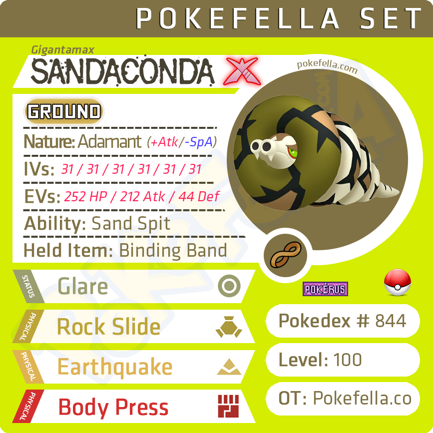 ultra square shiny Gigantamax Sandaconda • Competitive • 6IVs • Level 100 • Online Battle-ready