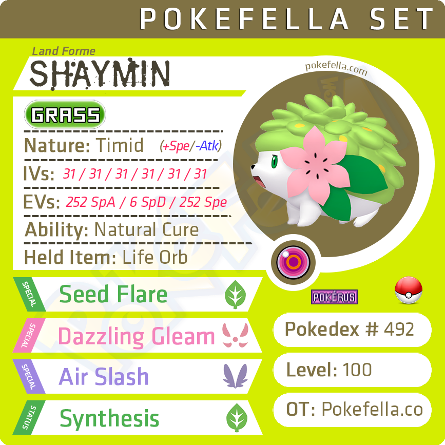 ultra square shiny Shaymin (Land Forme) • Competitive • 6IVs • Level 100 • Online Battle-Ready