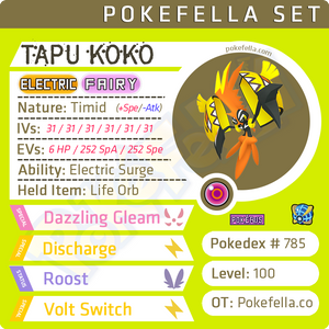 Tapu Koko • Competitive • 6IVs • Level 100 • Online Battle-Ready