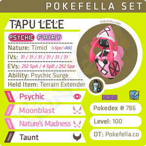 Tapu Lele • Competitive • 6IVs • Level 100 • Online Battle-Ready