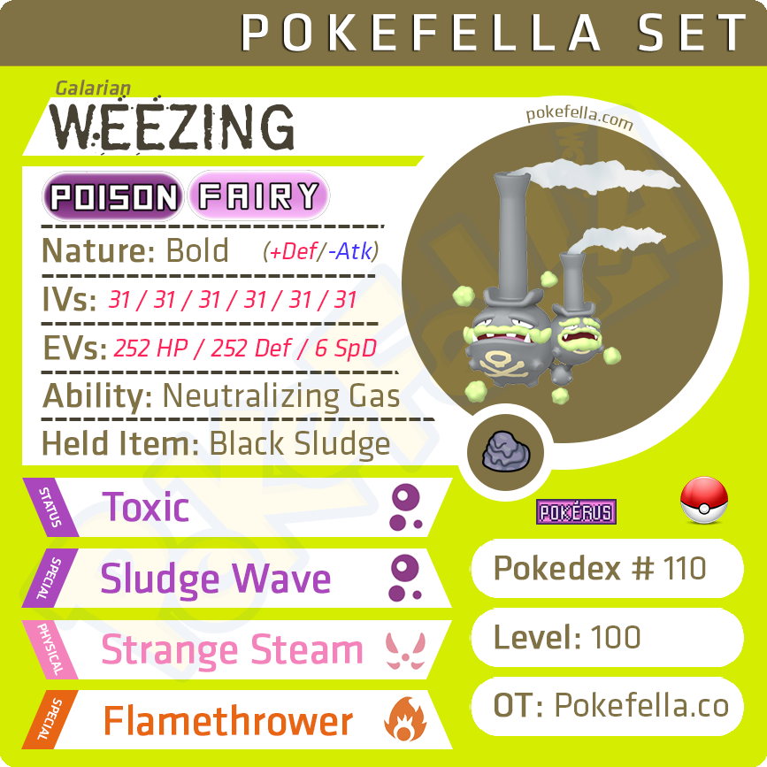 ultra square shiny Galarian Weezing • Competitive • 6IVs • Level 100 • Online Battle-ready
