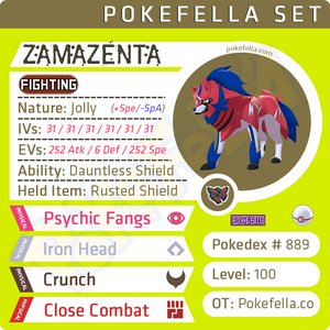 Zamazenta • Competitive • 6IVs • Level 100 • Online Battle-ready Dauntless Shield Rusted Shield Crowned Form Behemoth Bash