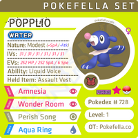 ultra square shiny Popplio • Competitive • 6IVs • Level 1 • Hidden Ability • Egg Moves