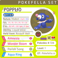 Popplio • Competitive • 6IVs • Level 1 • Hidden Ability • Egg Moves