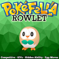 ultra square shiny Rowlet • Competitive • 6IVs • Level 1 • Hidden Ability • Egg Moves