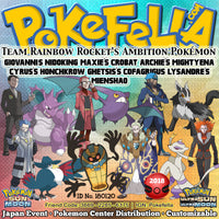 Pokémon Center/Store Distribution Giovanni's Nidoking, Maxie's Crobat, Archie's Mightyena, Cyrus's Honchkrow, Ghetsis's Cofagrigus, Lysandre's  Mienshao • ID No. 180120 • Team Rainbow Rocket's Ambition Pokémon - Japan 2018 Event