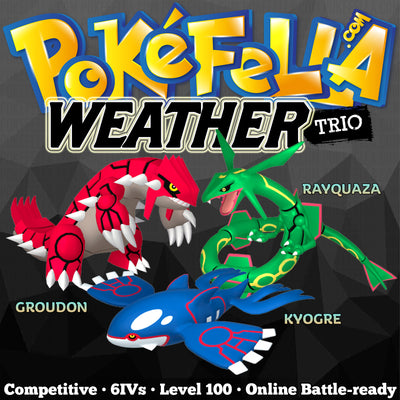 The Weather Trio • ultra square shiny Kyogre, Groudon, Rayquaza •  Competitive • 6IVs • Level 100 • Online Battle-ready