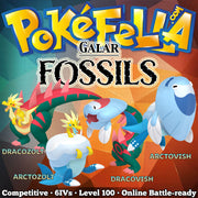 Galar Fossil Pokemon - ultra square shiny Dracozolt, Arctozolt, Dracovish, Arctovish • Competitive • 6IVs • Level 100 • Online Battle-ready