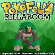 ultra square shiny Rillaboom • Competitive • 6IVs • Level 100 • Online Battle-ready