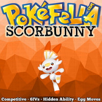 ultra square shiny Scorbunny • Competitive • 6IVs • Level 1 • Hidden Ability • Egg Moves