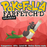 ultra square shiny Galarian Farfetch'd • Competitive • 6IVs • Level 99 • Online Battle-ready