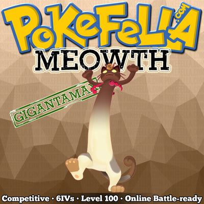 ultra square shiny Gigantamax Meowth • Competitive • 6IVs • Level 100 • Online Battle-ready