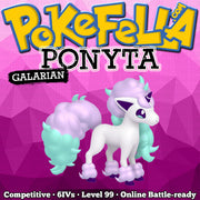 ultra square shiny Galarian Ponyta • Competitive • 6IVs • Level 99 • Online Battle-ready