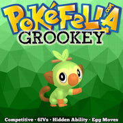 ultra square shiny Grookey • Competitive • 6IVs • Level 1 • Hidden Ability • Egg Moves