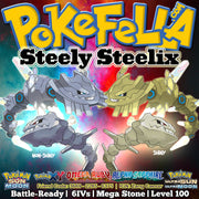 Mega Steelix shiny battle-ready EV-trained Level 100 Pokemon Ultra Sun Moon ORAS Omega Ruby Alpha Sapphire XY New Nintendo 2DS 3DS XL screenshot sturdy steelixite curse gyro ball rock slide earthquake