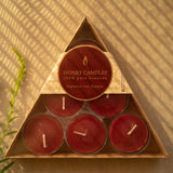 Beeswax Candle - Pack of Six Burgundy Tealights